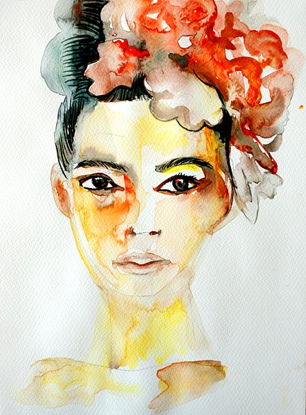 Portuguese girl with flowers, 2014