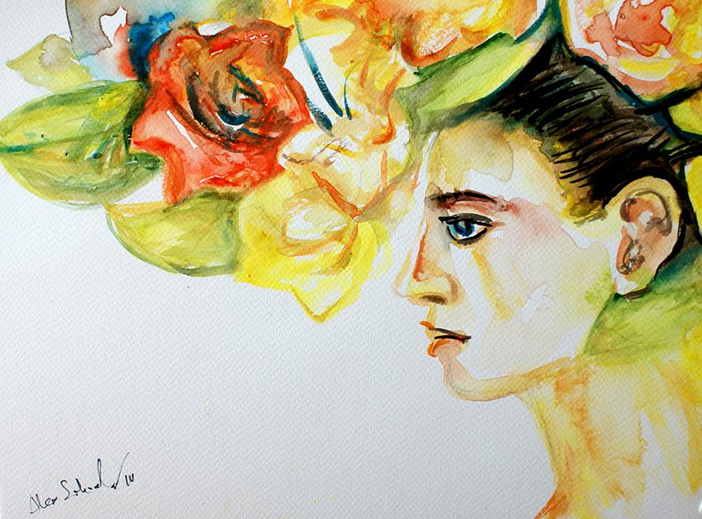 Portrait of a girl with flowers, 2014