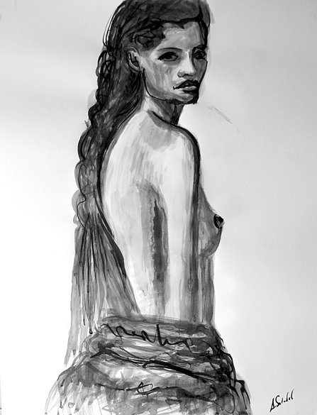 Nude Model Looking, 2014