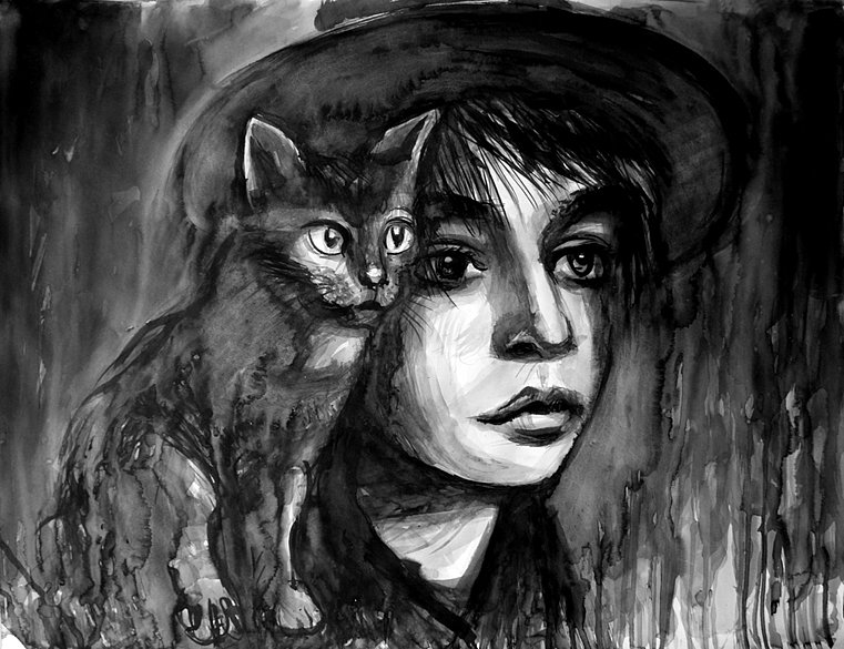 Poet with a black cat, 2014
