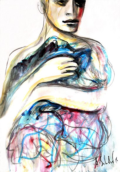 Woman with drapery, 2015
