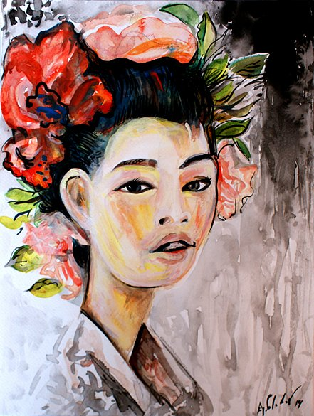 Chinese girl with flowers, 2014