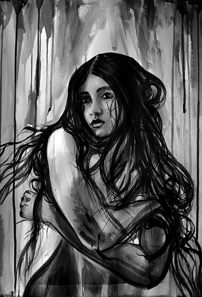 Nude Girl with Long Hair, 2016